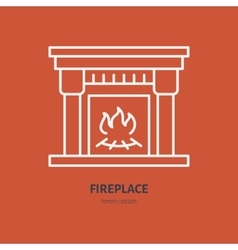 Fireplace with fire line icon house vector