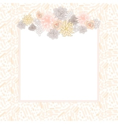 Flower square card template vector