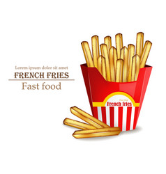 french fries realistic fast food template vector image