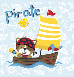 funny pirate or sailors cartoon with wooden vector image