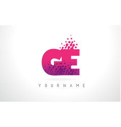 Ge g e letter logo with pink purple color and vector