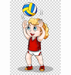 Girl playing volleyball on transparent background vector