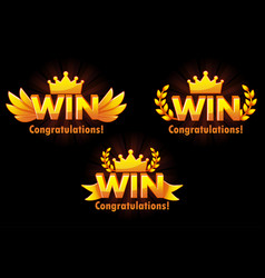 golden win versions isolated logo win vector image