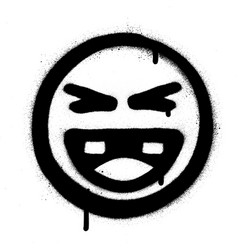 graffiti laughing icon face in black over white vector image
