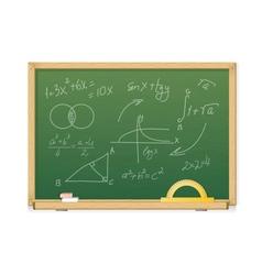 Green chalkboard with mathematics symbols vector