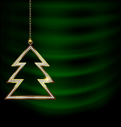 Green drape with golden christmas tree vector