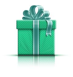 Green gift box with ribbon vector