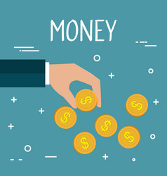 hand with coin money isolated icon vector image