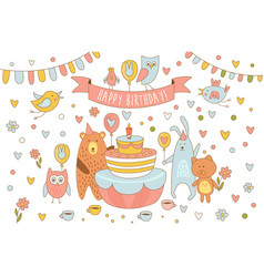 Happy birthday card with cute animals near holiday vector