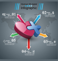 health heart icon 3d medical infographic vector image