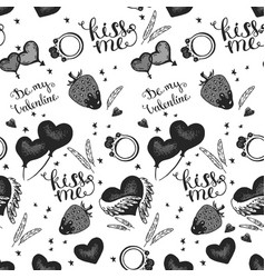 hearts seamless pattern wedding background vector image