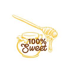 honey sketches logo bee hive honey jar barrel vector image