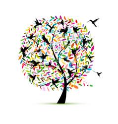 hummingbird tree sketch for your design vector image