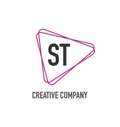 initial letter st triangle design logo concept vector image