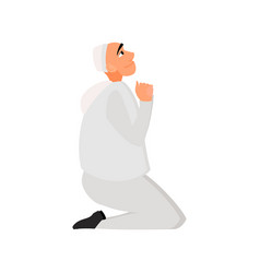 islamic man praying in cartoon style vector image
