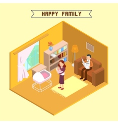 Isometric interior happy family isometric people vector