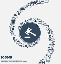Judge or auction hammer icon in the center Around vector