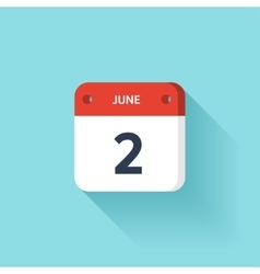 June 2 Isometric Calendar Icon With Shadow vector