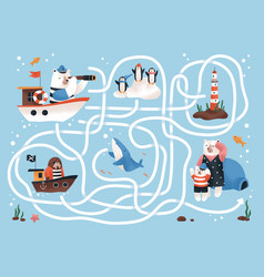 kids labyrinth game with animal characters and vector image