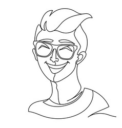 laughing man in eyeglasses portrait one line art vector image
