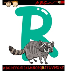 letter r for raccoon cartoon vector image