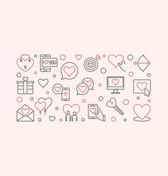 Love and interpersonal relationship outline vector