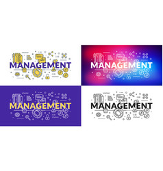 management flat line concept for web banner and vector image