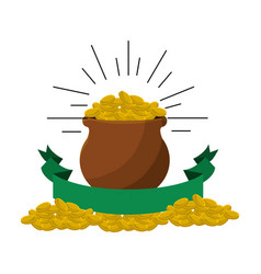 Many coins inside of flowerpot and ribbon vector