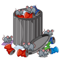 Many rats searching trashcan vector
