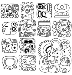 Mayan hieroglyphs vector