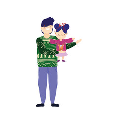 merry christmas father carrying daughter with ugly vector image