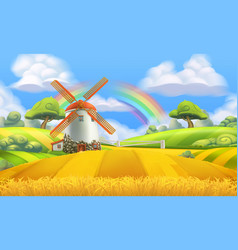 Nature landscape farm and mill 3d background vector