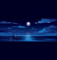 night landscape with moon sea ocean sky water vector image