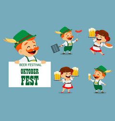 Oktoberfest beer festival funny man and woman vector