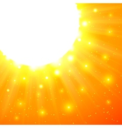 Orange shining sun with flares vector