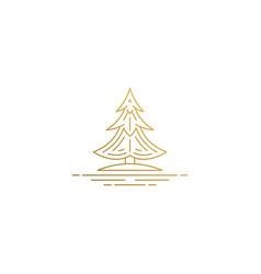 outline design conifer tree hand drawn vector image