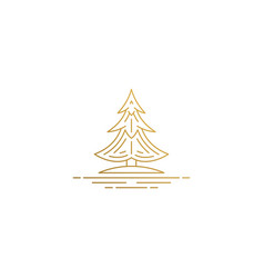 outline design conifer tree hand drawn with vector image