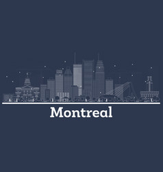 outline montreal canada city skyline with white vector image