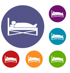 Patient in bed in hospital icons set vector