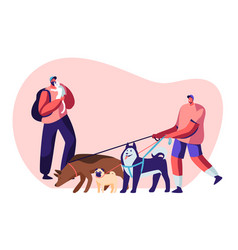 people spending time with pets at home vector image