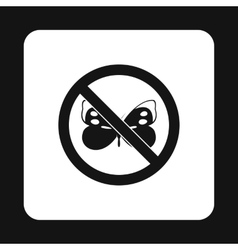 Prohibition sign butterfly icon simple style vector