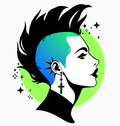 Punk subculture hairstyle girl with mohawk vector