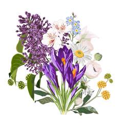 Purple spring crocus flowers bouquet vector