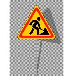 Road signs roadworks on transparent background vector
