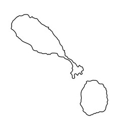 Saint kitts and nevis map of black contour curves vector
