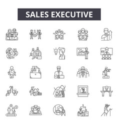 sales executive line icons signs set vector image