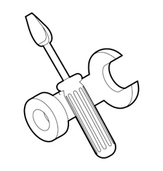 Screwdriver and wrench icon outline style vector