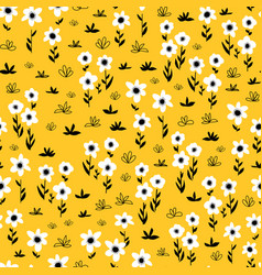 Seamless flower pattern white gold yellow vector