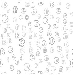 seamless pattern sign bitcoin black on a white vector image