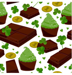 seamless st patricks day background with clover vector image